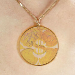 9ct Gold Hologram Pendant - Dollar Sign Coins Money Large + 20 Chain