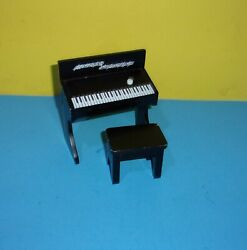 2007 Kidkraft Dollhouse Black Upright Wooden Musical Piano And Stool Furniture