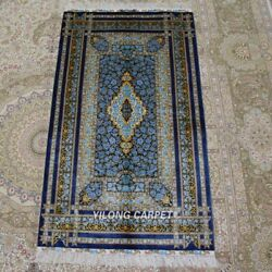 Yilong 3'x5' Blue Rose Handknotted Silk Carpet Indoor Porch Area Rug Z309a