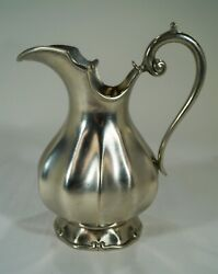 Made In Portugal Pewter Large Mouth Pitcher Scalloped And Scroll Design