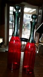 2large Red Line Optic Glass Bar Decanters Stainless Steel Lock-in Ball Caps120