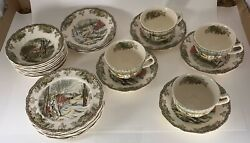26 Pieces Of Johnson Brothers Friendly Village Dishes Made In England Backstamp