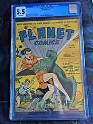 Planet Comics 20 Cgc Fn- 5.5 White Pg Classic Space Dragon Cover