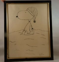 1960#x27;s Vintage Signed Griffin Tamatha Sitting Snoopy Beagle drawing framed8x10