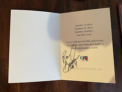 Ron Greshner Signed Autographed Ny Rangers Team Issued Christmas Card Loa Puck