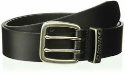 Men's Leather Two Prong Casual 1 1/2 Inch Belt Black