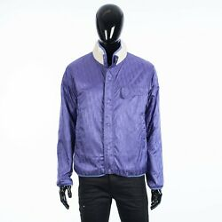 Dior 3100 Reversible Oblique Blouson Jacket In White And Purple Technical Fabric