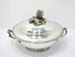 11 1/8 In - 950 Silver Antique French Cabbage Decorated Hot Food Serving Pot