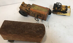 Lot Of 3 Antique Metal Toys Wind Up Tractor Rusty Trailer See Description