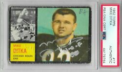 Mike Ditka Signed 1962 Topps Chicago Bears Rookie Nfl Football Card 17 Psa/dna