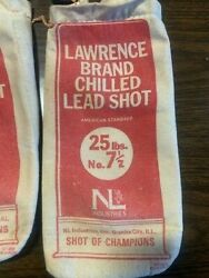 Vintage Lawrence Brand Chilled Lead Shot Empty Canvas Bags - Set Of 10 Bags