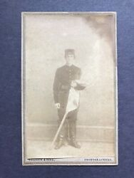 Antique Identified 1st Wisconsin Artillery With Flag Civil War Soldier Cdv Photo