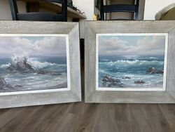 Pair ROSEMARY MINER Original Oil Painting on Canvas Beach Ocean California $999.00