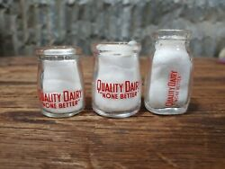 Lot Of 3 Different Styles Vintage Quality Dairy None Better Creamer Glass Bottle