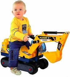 Kids Ride On Excavator Digger Tractor Truck Toy Scooter Pulling Cart W/ Helmet