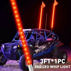 3ft Red Led Lighted Antenna Whip Flag Pole For Atv Utv Rzr Off-road Buggy Can-am