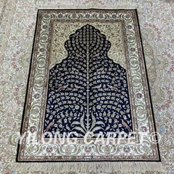 Yilong 2.7and039x4and039 Tree Of Life Handmade Silk Carpet Kid Friendly Area Rug H211b