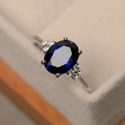 2.15 Ct Real Diamond And Blue Sapphire 950 Platinum Rings For Her Size L M N O P Q