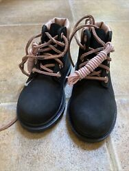 Timberland A0530 6quot; Premium Black Pink Leather Girls Waterproof Boots Sz 8 $39.99
