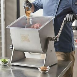 Countertop 20 Lb Stainless Manual Kitchen Tilting Meat Mixer, Removable Paddles