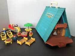 Vintage Fisher Price Play Family A Frame 990 Set Little People Snowmobile + More