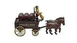 Vintage Rare Old Collectible Antique Miniature Toy Cart With Man 100 Original