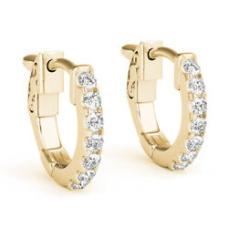 1.40 Carat Round Cut Solitaire Real Diamond Earrings 14k Solid Yellow Gold Hoops