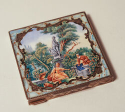 Antique Silver Powder Box With Enamel On The Top Cover Limoges Enamel...