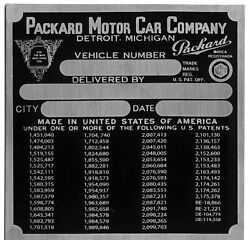 Packard Oem Data Plate Serial Number Id Tag Free Stamping