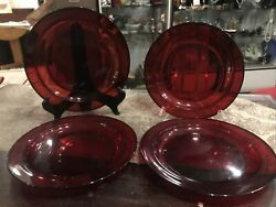 """Vintage Ruby Red Dinner Plates Red Glass Lot Of Four Size 9 1/2"""""""