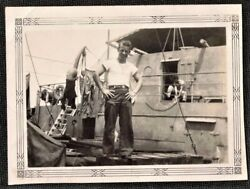 Antique Vintage Photograph Man Standing On Cool Looking Boat