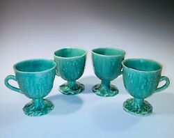 4 Ceramic Majolica Footed Mugs, Turquoise Green Stamped By Worcester Unique