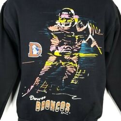 Denver Broncos Sweatshirt Vintage 80s Nfl Football Distressed Made In Usa Small