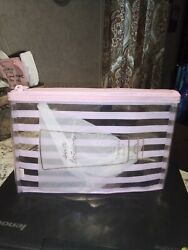 VICTORIA#x27;S SECRET PINK Striped CLEAR ZIPPERED MAKEUP COSMETIC BAG ORGANIZER NEW $7.99