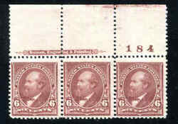 Us Stamps 271 Mint Og Nh Plate Imprint Strip Of 3 Vf 1895 Garfield Dull Brown