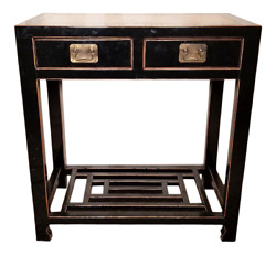A Fine Black Lacquer Ming Style Two-drawer Console Table