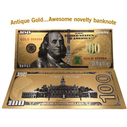 Antique Gold Banknotes Notes Reserve Bill Currency Money Coins Paper Federal