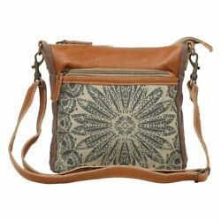 Myra Upcycled Dizzy Circle Canvas and Leather Crossbody Bag Purse $38.95