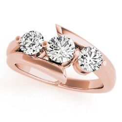 Round 1.50 Ct Real Diamond Rings Solid 18k Rose Gold Solitaire Ring Size 5 7 8