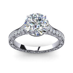 Solid 18k White Gold Solitaire Ring 0.85 Ct Round Real Diamond Rings Size 7 8 9