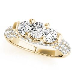Round 1.46 Ct Real Diamond Rings Solid 18k Yellow Gold Solitaire Ring Size 5 7 8