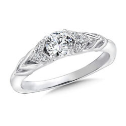 Real 0.68 Ct Round Diamond Engagement Ring 18k Solid White Gold Band Size 7 8 9