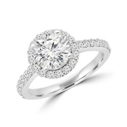 Solid 18k White Gold Band Natural 0.98 Ct Round Diamond Engagement Ring 5 6 7 8