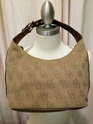 Dooney amp; Bourke Signature Brown Canvas Small Hobo Shoulder Bag Purse $35.50