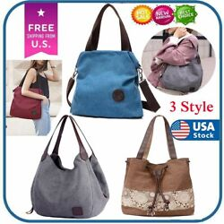 Women Canvas Bags Shoulder Tote Messenger Satchel Bag Cross Body Casual Handbag $8.79