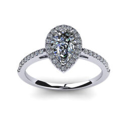 0.70 Ct Real Diamond Engagement Rings Solid 18k White Gold Band Size 5 6 7 8 9