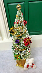 Accessory 6 1/2 Tall Bottle Brush Decorated Christmas Tree In Gold Drum W/ Bear