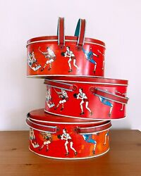 Vintage 1930s Bright Red Lunch Pail Boxes W Lid   Ohio Art Co. Metal Lithograph