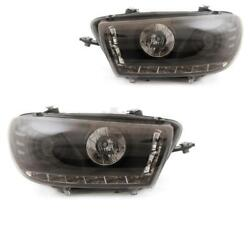 Headlight Set For Vw Scirocco Iii 3 Year 08- Dragon Lights Led Clear/black