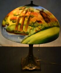 Antique Jeannette Reverse Painted Windmill Scene Glass Table Lamp C.1910
